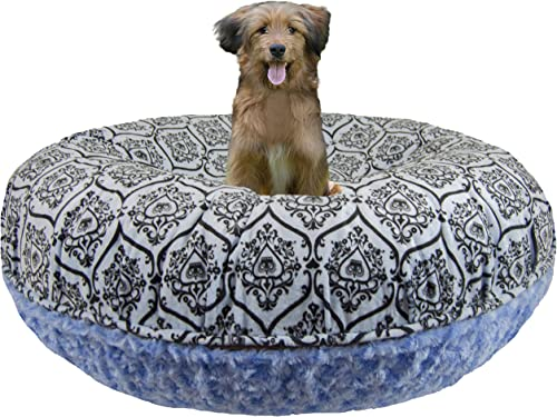 BESSIE AND BARNIE Signature Blue Sky Versailles Blue Luxury Extra Plush Faux Fur Bagel Pet Dog Bed Multiple Sizes