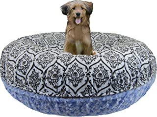 product image for BESSIE AND BARNIE Signature Blue Sky/ Versailles Blue Luxury Extra Plush Faux Fur Bagel Pet/Dog Bed (Multiple Sizes)