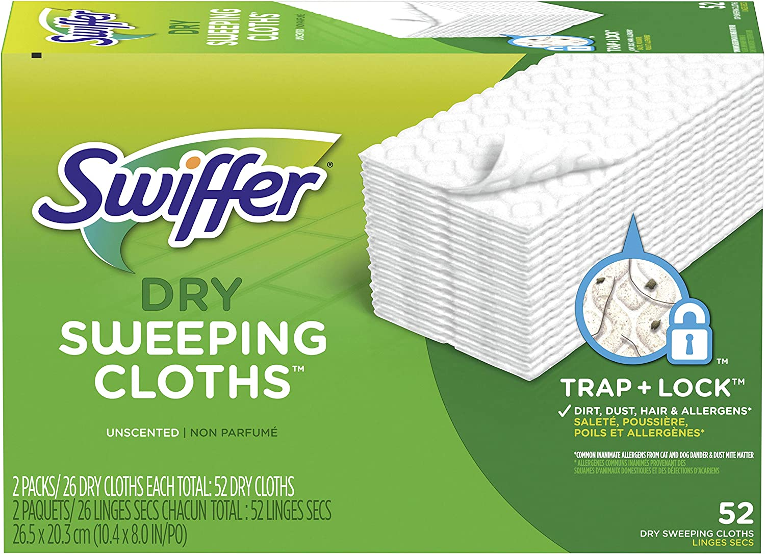 Swiffer Sweeper Dry Mop Refills for Floor Mopping and Cleaning, All Purpose Floor Cleaning Product, Unscented, 52 Count(packaging may vary): Health & Personal Care