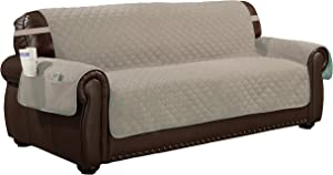 Quick Fit Reversible Waterproof Recliner Couch Cover with Elastic Buckle, Chair, Chocolate-Natural