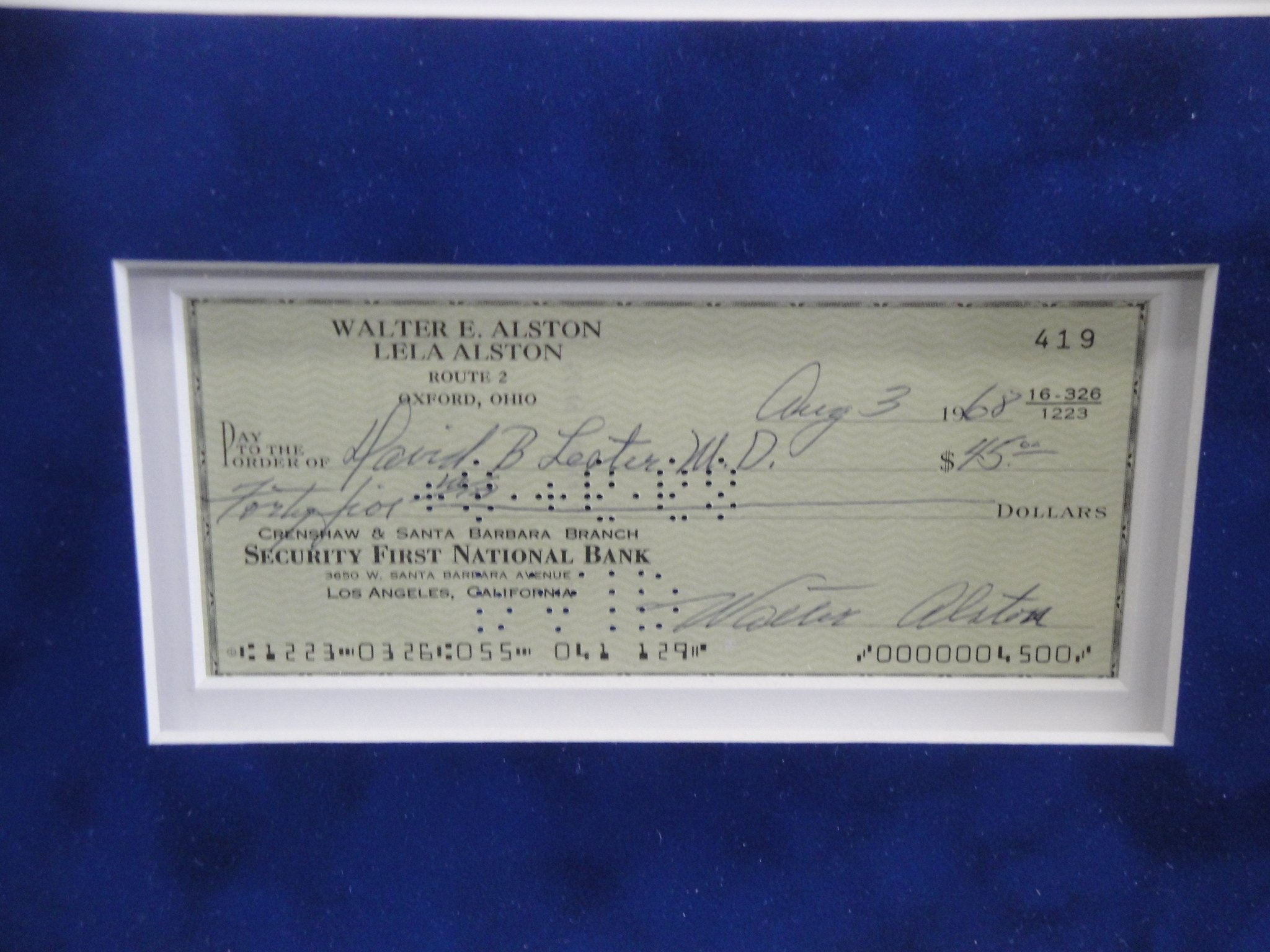 Walt Alston Hand Signed Autographed Personal Check Framed w/8x10 Photo w/COA