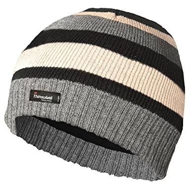3a08a640e25232 BOYS THINSULATE LINED KNITTED STRIPED BEANIE HAT: Amazon.co.uk: Clothing