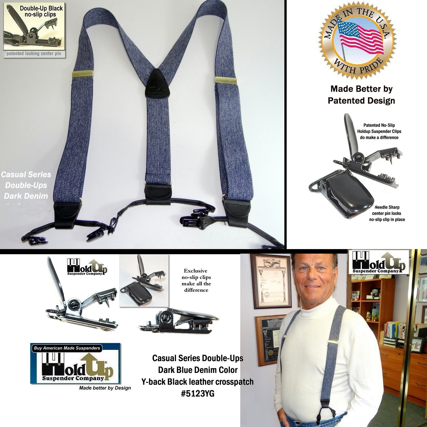 Dark Blue Denim Dual Clip Double-Up Style Holdup Suspenders in Y-back style are made in the USA by Holdup Suspender Company Holdup Suspender Company Inc 5123YG