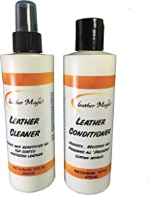 Leather Magic Leather Cleaner & Leather Conditioner Combo Pack 8 oz Size. Cleans, Beautifies and Protects All Top Grain/Coated Leather.