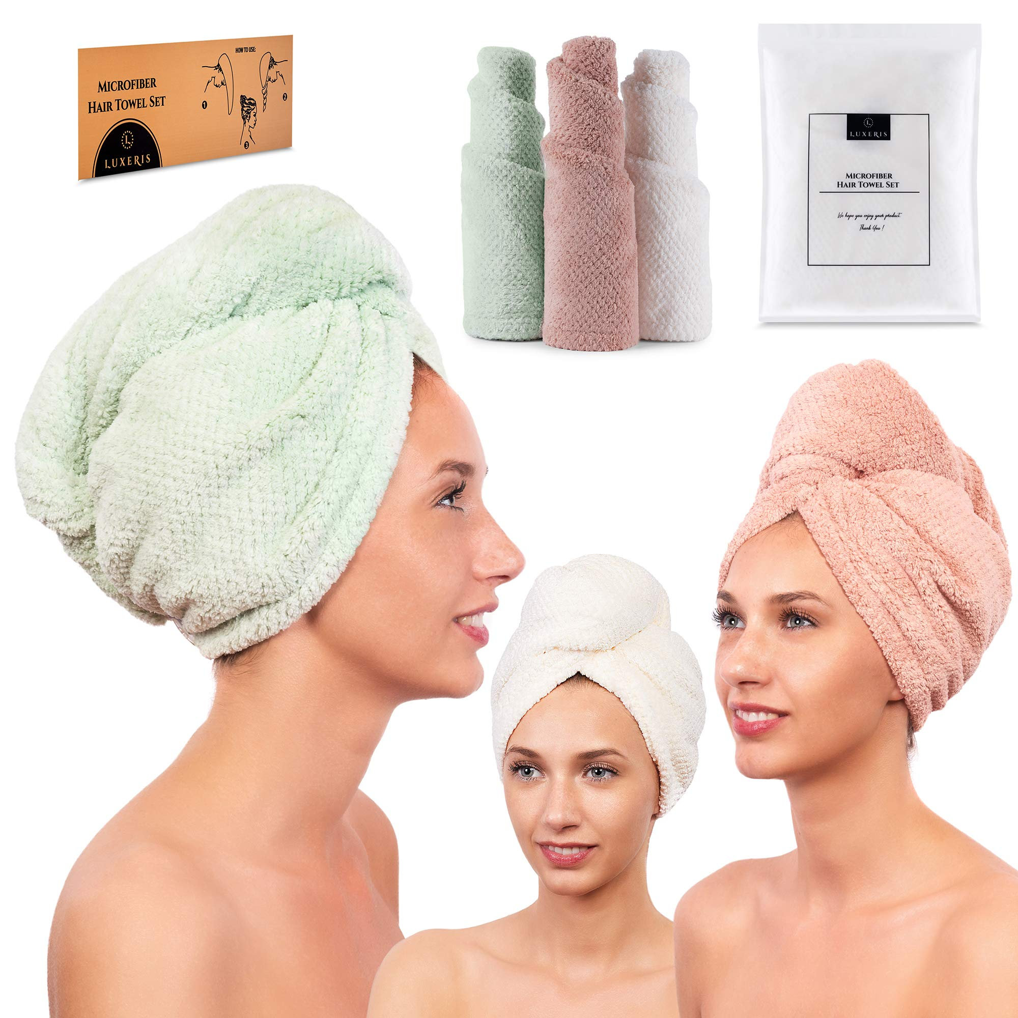 3 Pack Microfiber Hair Towel for Women - Drying Twist Wrap for Curly, Long, Thin or Short Hair – Ultra Absorbent & Anti Frizz Turban for Sleeping and Showering – BONUS Soft Headband (Ivory/Pink/Green)