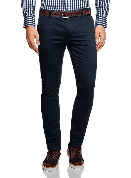 oodji Ultra Hombre Pantalones Chinos con Acabado en Contraste: Amazon.es: Ropa y accesorios