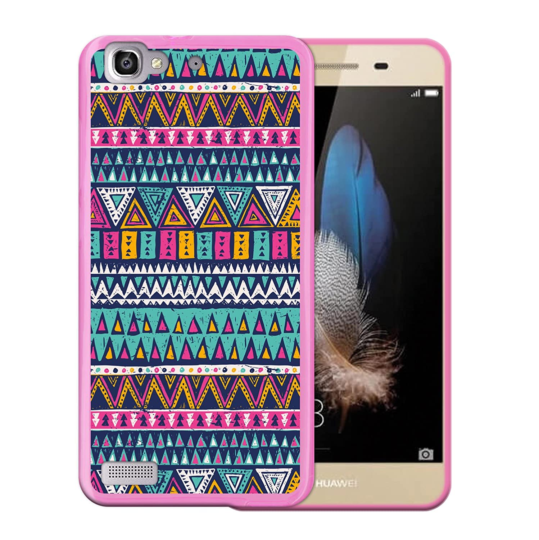WoowCase Funda Huawei P8 Lite Smart, [Huawei P8 Lite Smart ] Funda Silicona Gel Flexible Azteca Tribu, Carcasa Case TPU Silicona - Rosa