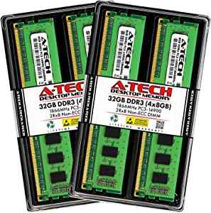 A-Tech 32GB DDR3 1866MHz Desktop Memory Kit (4 x 8GB) PC3-14900 Non-ECC Unbuffered DIMM 240-Pin 2Rx8 1.5V Dual Rank Computer RAM Upgrade Sticks
