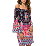 LONGTOU Women Vintage Fashion Summer Sundress Beach Tunic Hippie Boho Chic Robe Femme