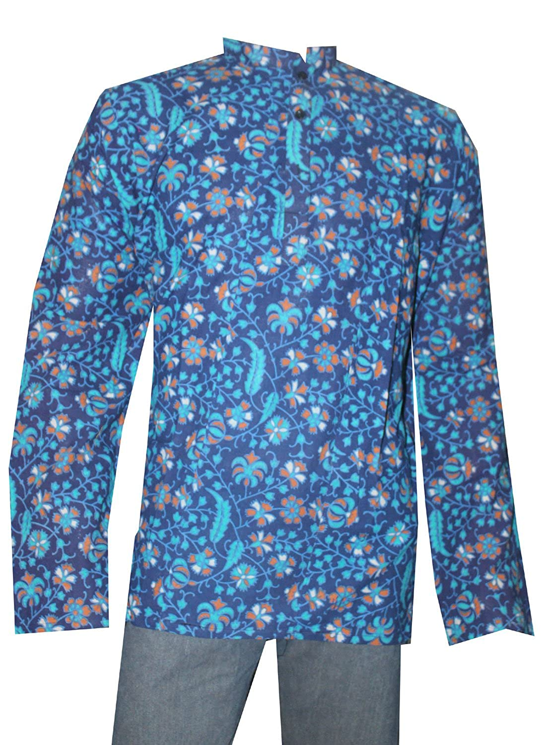 Lakkar Havali Indian 100/% Pure Cotton Men/'s Shirt Loose Fit Shirt Kurta Floral Print Blue Color