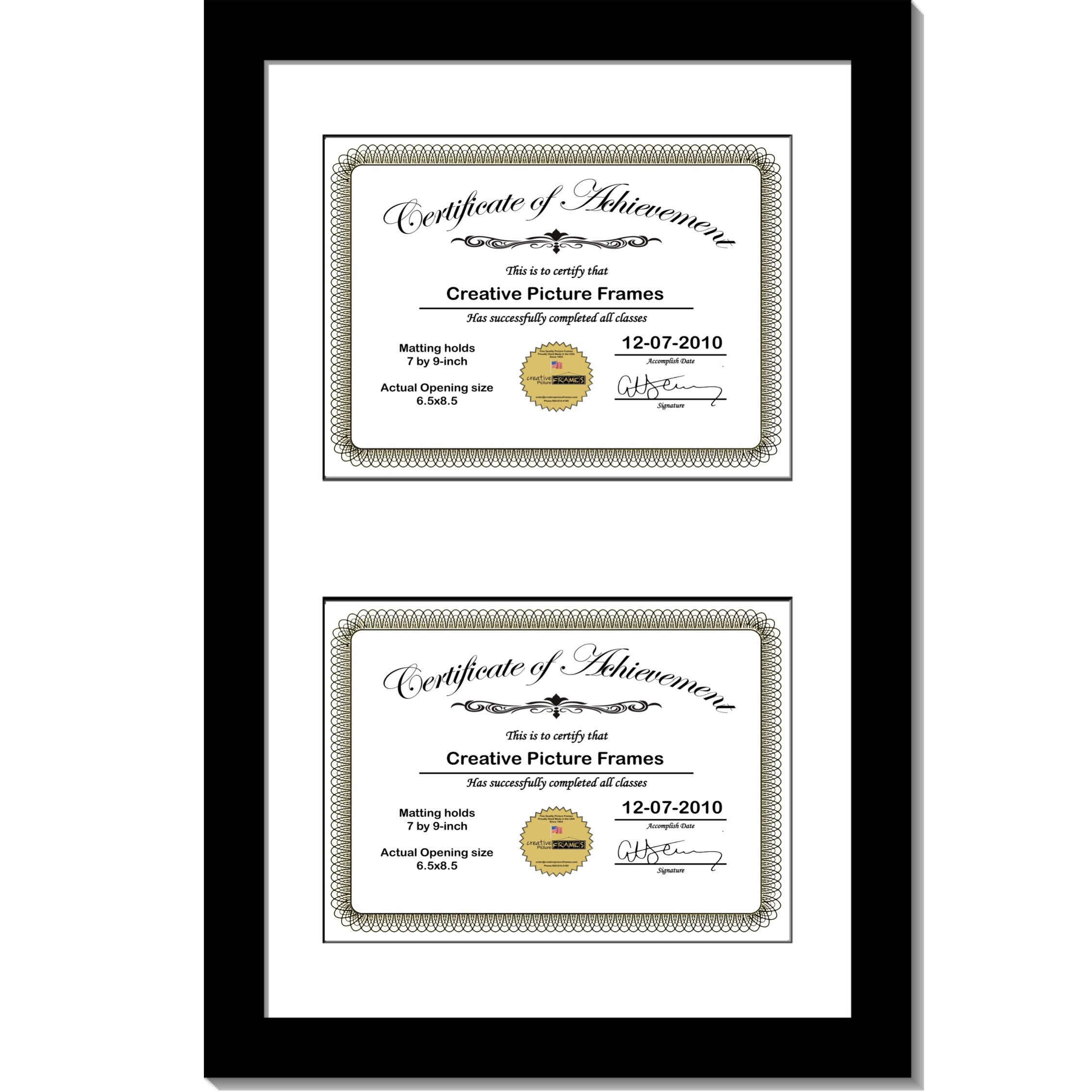 CreativePF [10x16bk-b] Black Vertical Double Diploma Frame with 2 Opening Black Matting | Holds 2-7x9-inch Documents with Installed Wall Hanger