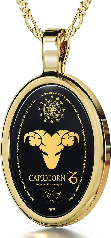 Collar con ónice y signo Capricornio en oro 24ct - Regalos del zodiaco en joyas