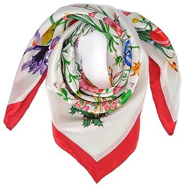 Allée du foulard Carré de soie Premium Floralis bord rouge - 85x85 ... 28f23d2eb5e
