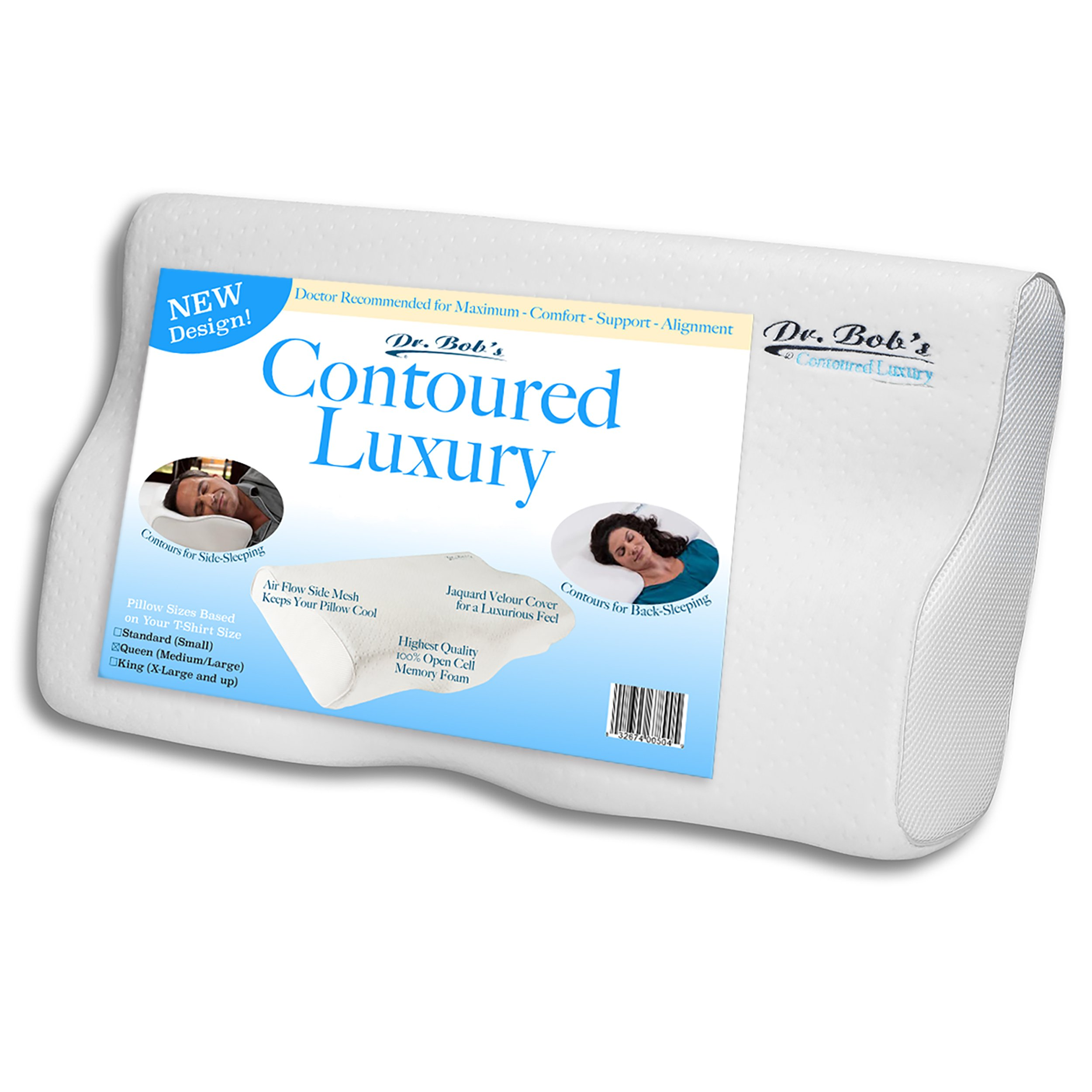 Contoured Luxury - Neck and Cervical Pillow by Dr. Bob's - Memory Foam Contours for Back-Sleeping and Side-Sleeping, Jaquard Velour Cover, Open cell foam, Stays Cool, 3 Sizes - Queen Size