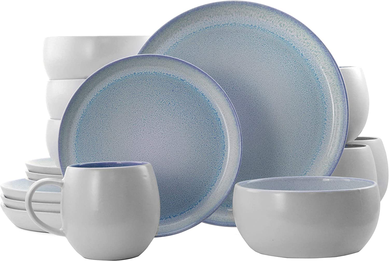 Elama Round Stoneware Mocha Collection Contemporary Dinnerware Dish Set, 16 Piece, Blue and White