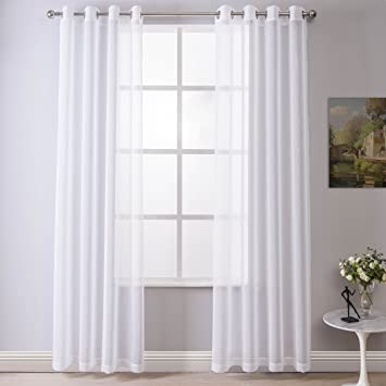 DWCN White Sheer Curtains Linen Look Semi Transparent Voile Grommet For Living Room Dining