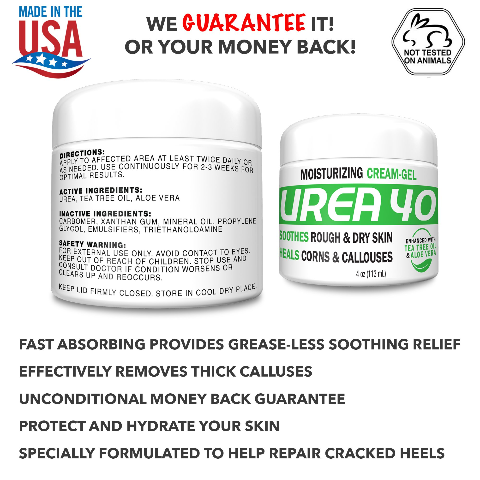 Urea 40% Percent Cream/Gel for Hands, Feet, Elbows and Knees - Corn & Callus Remover - Skin Exfoliator & Moisturizer - Repairs Thick, Callused, Dead and Dry Skin 4oz,2Pack by Scientific Solutions (Image #4)
