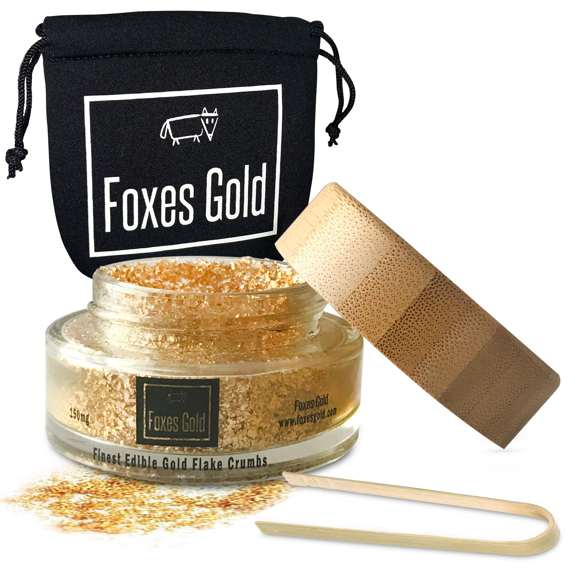 Edible Gold Flake Crumbs | Edible Glitter | Genuine Edible 23.75k Gold | simply sprinkle to add golden glitter to food, cake decorations, drinks weddings, parties & anything! - 150mg Jar by Foxes Gold
