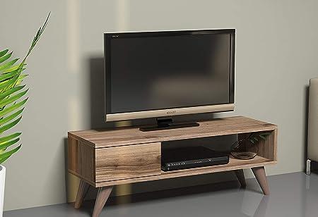 Vivense Maya - Mueble de TV de roble para televisores de hasta 45 pulgadas con cajón (90 x 30 cm), diseño retro: Amazon.es: Hogar
