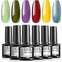 TOMICCA Gel Nail Polish Set, Red Yellow Green, 6 Colors, UV LED Soak Off Gel Starter Kit, Gel Manicure at Home Kit, No…