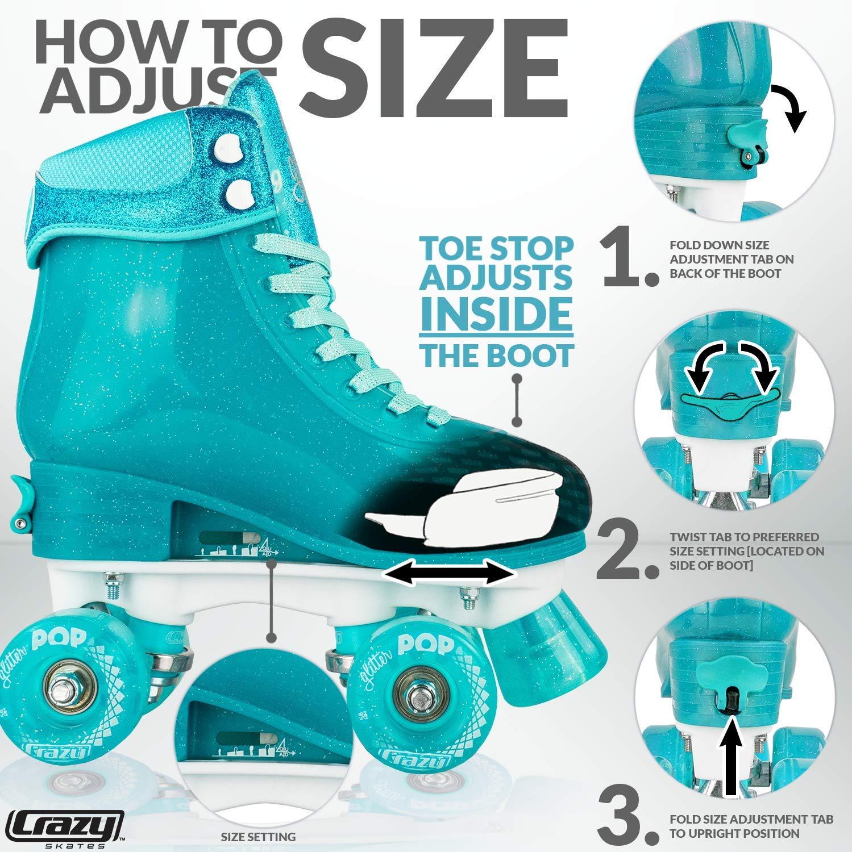 Crazy Skates Glitter POP Adjustable Roller Skates for Girls and Boys   Size Adjustable Quad Skates That Fit 4 Shoe Sizes   Teal (Sizes jr12-2) by Crazy Skates (Image #3)