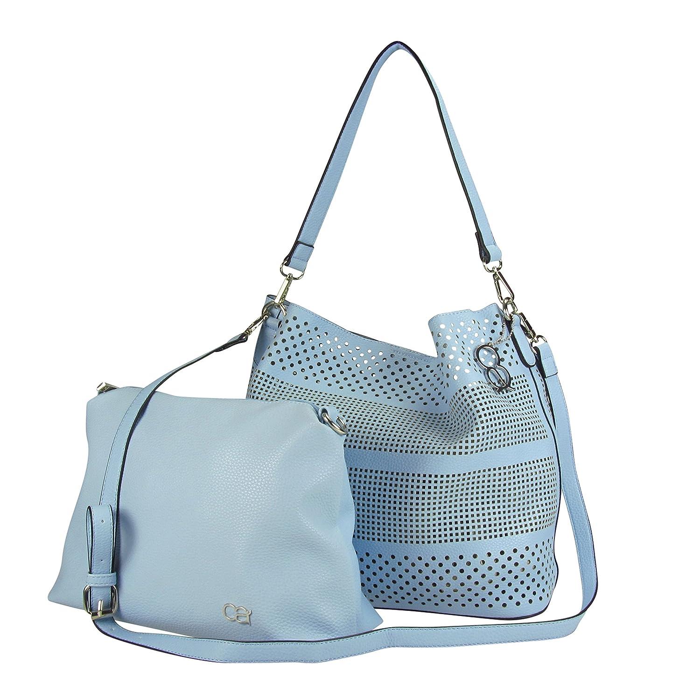 2-in-1 Tasche 30x30x15cm - Handtasche mit Laser-Lochung und zusätzlicher Innentasche mit Reißverschluss (beige) Collezione Alessandro DG4cX