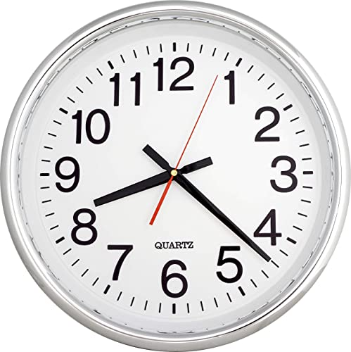 ISHIWA 16-inch Large Easy to Read 3D Numerals Quartz Wall Clock Quiet Non-Ticking Movement, Office, Home Decor, Classroom W0934-C Chrome