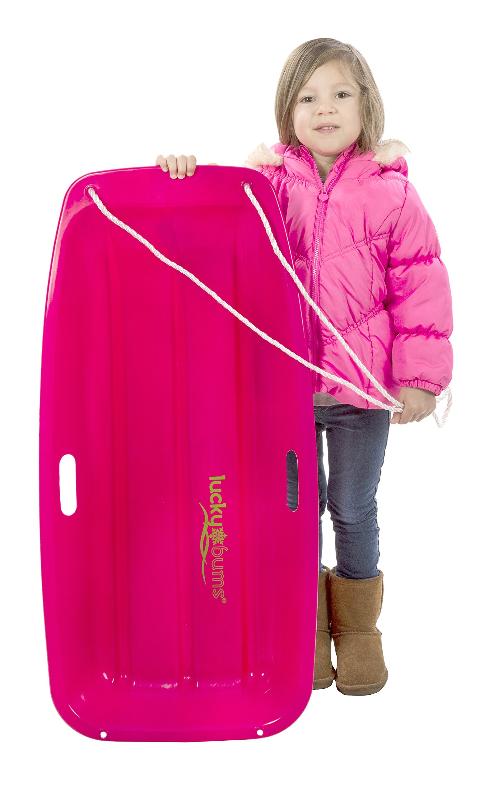 Snow Sled Kids Winter Toboggan Sled, 33-inch, Pink by Lucky Bums (Image #2)