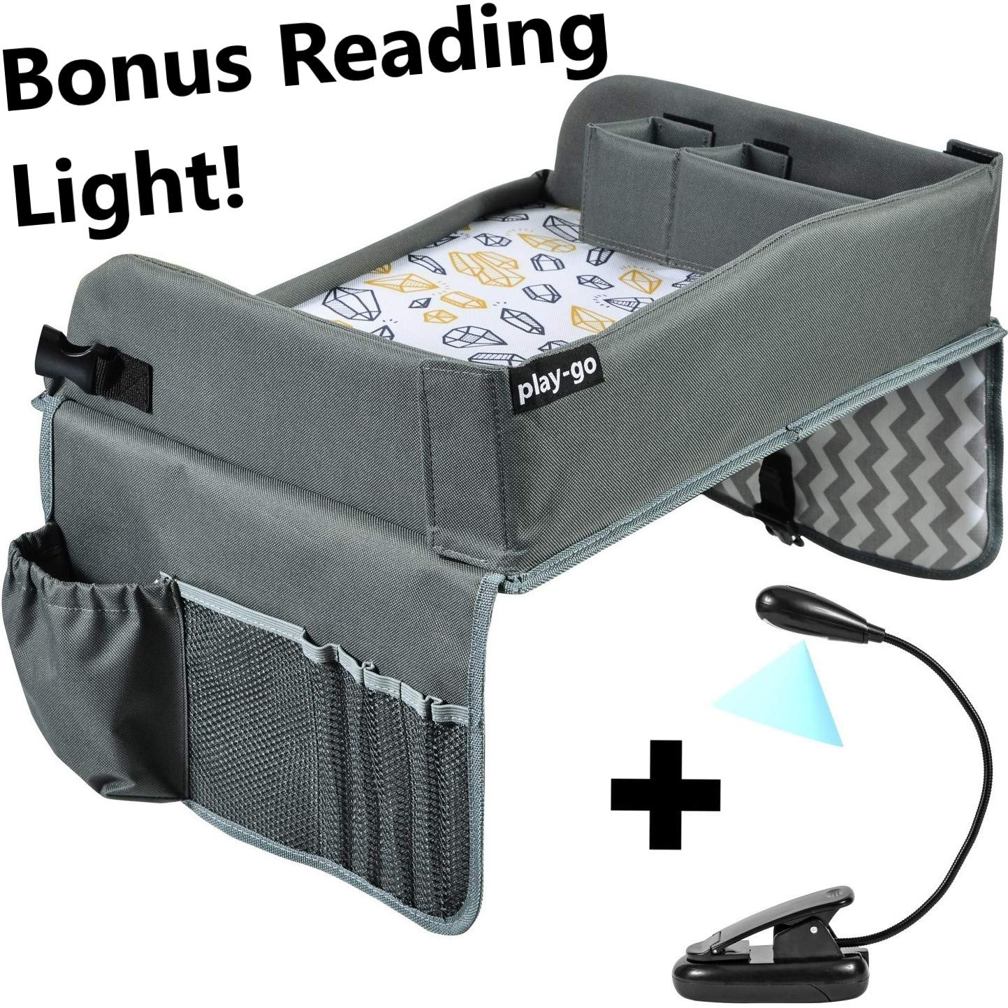 Kids Travel Tray Bonus Reading Light Clip | Premium Car Seat Activity Tray | Waterproof, Food & Snack Tray | Smartphone/Tablet/Cup Holder | Back Seat Organizer | Padded/Portable by play-go