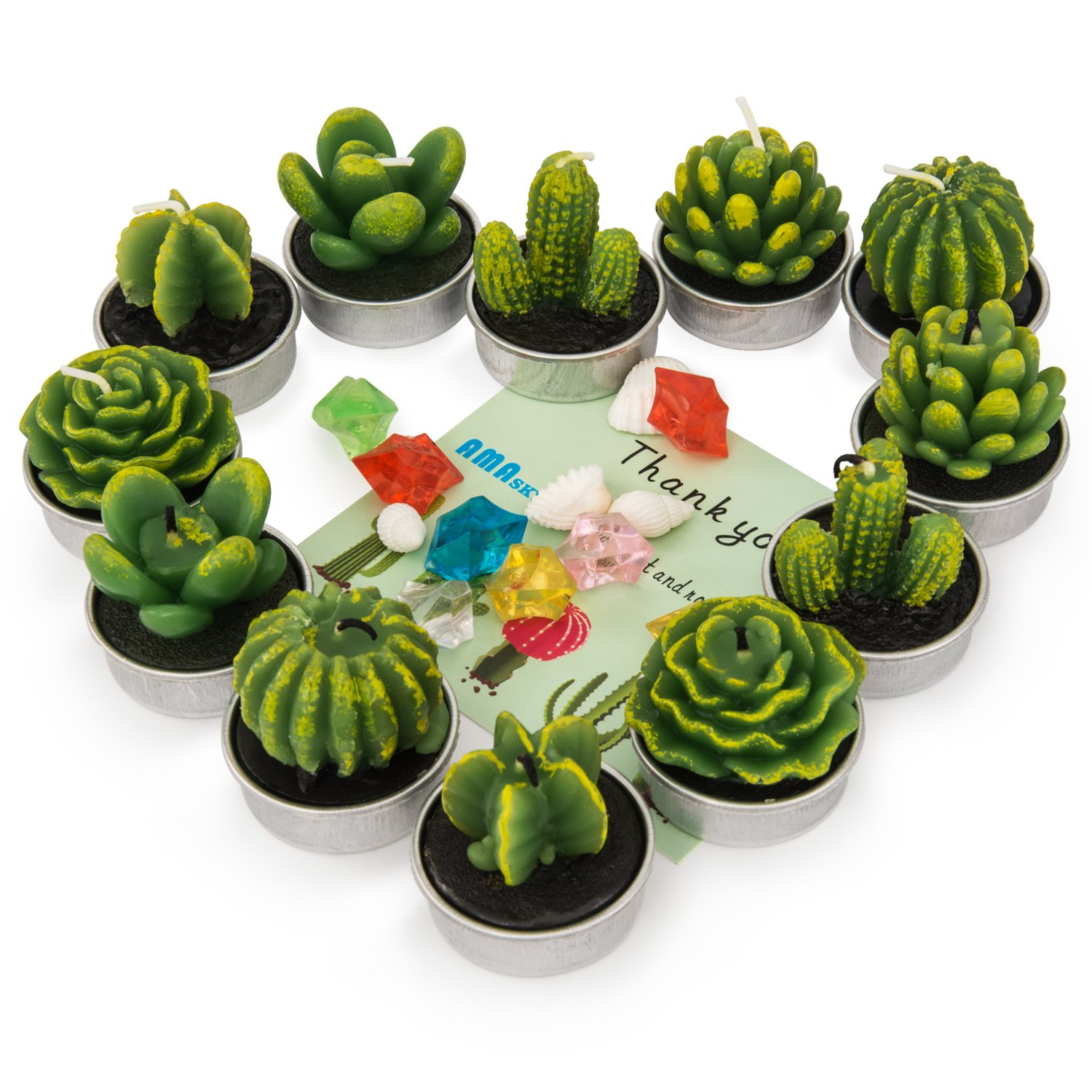 amasky Cactus Tealight Candles, Handmade Delicate Succulent Cactus Candles for Valentine's day Birthday Party Wedding Spa Home Decoration, 12 Pcs in Pack. (12)