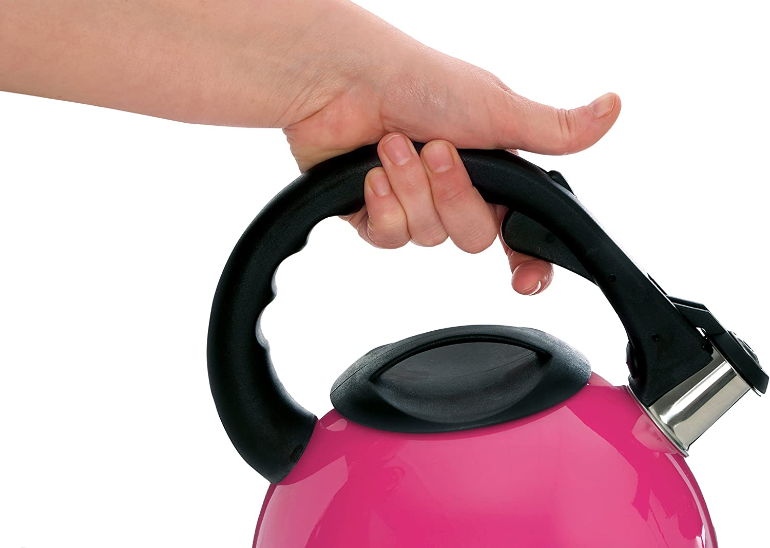 Premier Housewares Hot Pink Stainless Steel Whistling Kettle