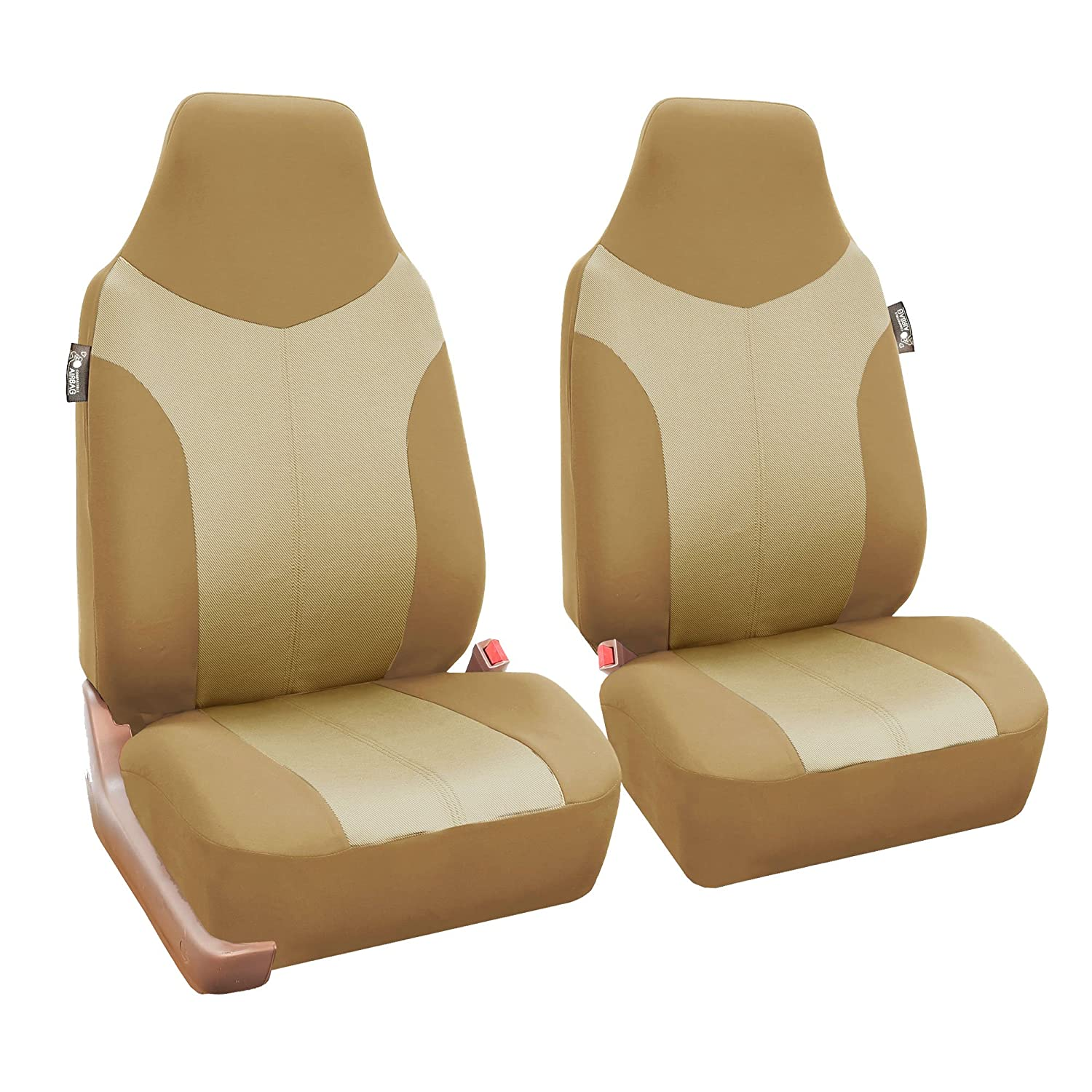 Amazon FH Group FB101BEIGETAN115 Beige Supreme Twill Fabric High Back Car Seat Cover Full Set Airbag Ready And Split Rear Bench Automotive