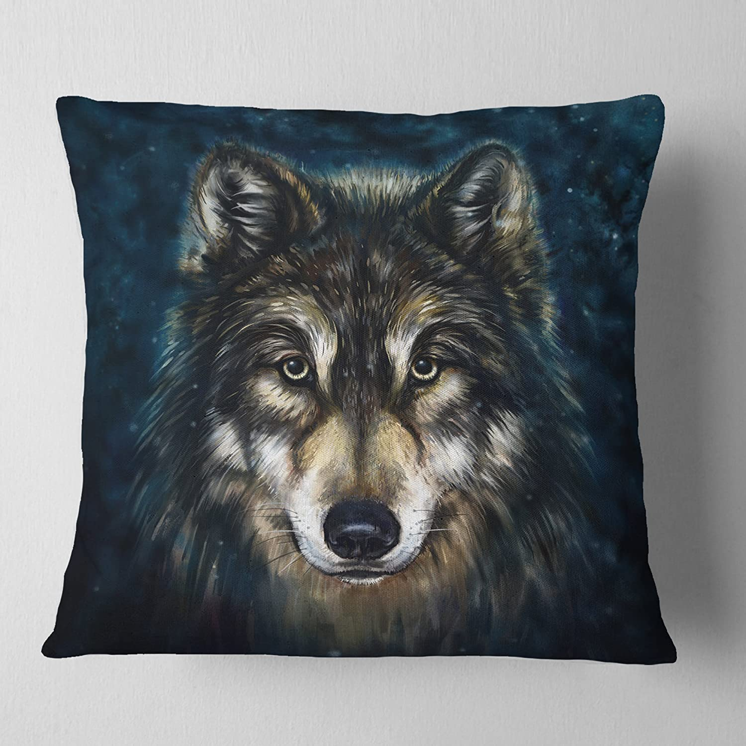 Throw Pillow Covers Designart Cu6212 18 18 Smiling Wolf Animal Throw Cushion Pillow Cover For Living Room Insert Printed On Both Side 18 In X 18 In In Sofa Home Kitchen