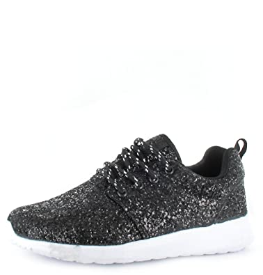 0996a069470 Ladies Running Womens Trainers Shimmer Glitter Fitness Gym Sports Lace Up  Shoe (UK3 36
