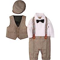 Zoerea 3tlg Baby Jungen Bekleidungssets Strampler + Weste + Hut Fliege Krawatte Anzug Gentleman Festliche Taufe Hochzeit Langarm Baby Kleikind für Herbst