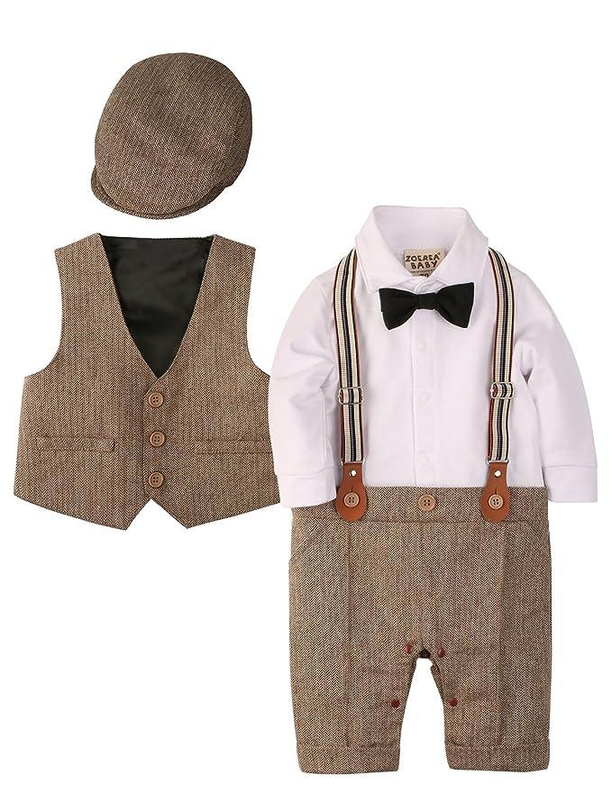 Zoerea 3tlg Baby Jungen Bekleidungssets Strampler + Weste + Hut Fliege Krawatte Anzug Gentleman Festliche Taufe Hochzeit Lang