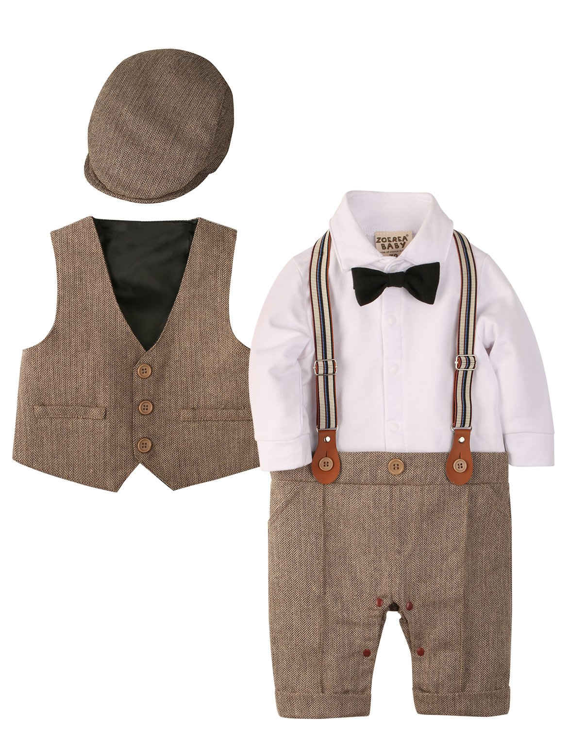 ZOEREA Baby Boy Outfits Set, 3pcs Long Sleeves Gentleman Jumpsuit & Vest Coat & Berets Hat with Bow Tie (Brown, Label 80)