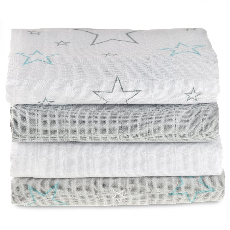 Muselina / Paño / Gasa algodón bebé - 4 Ud. 70x70 cm, estampado estrellas gris, turquesa, blanco | Tejido doble con bordes reforzados, certificado OEKO-TEX MAKIAN