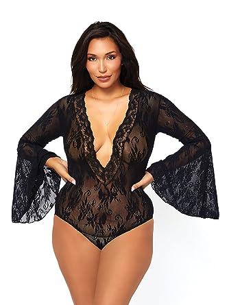 f235ef2487 Amazon.com: Leg Avenue Sexy Lace Plus Size Lingerie Bodysuit: Clothing