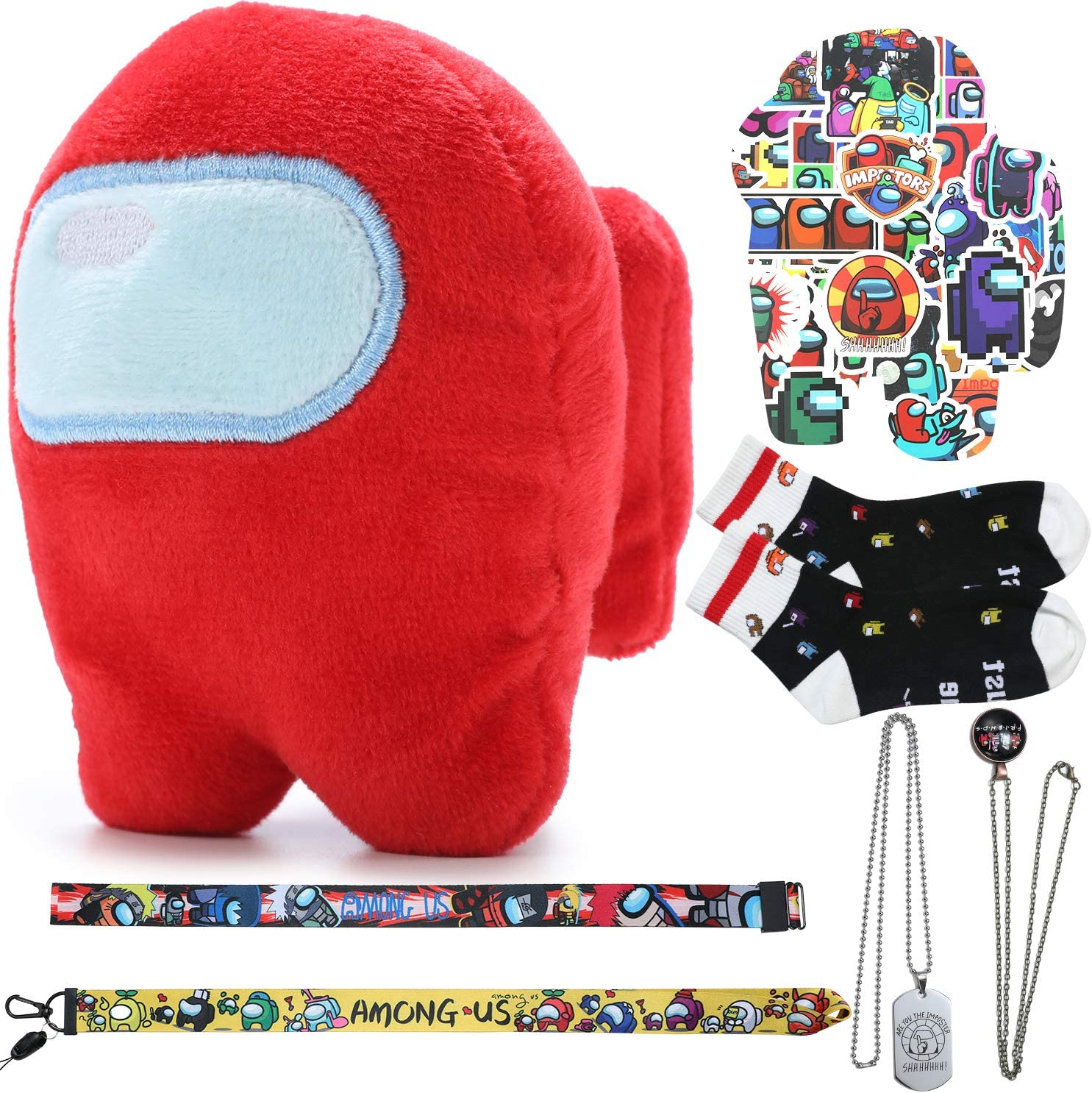 Imposter,1 Amongs us Plushie//1 Adult and Kid Socks//50 Stickers//1 Necklace//1 Pendant//1 Lanyard//1 Hand Ring,As Party Supplies Novelty Crazy Funny Among Socks US Among Plush Us