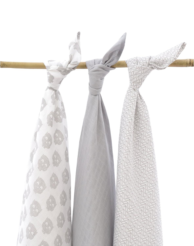 Jollein 535-850-64918 - Pañales muy absorbentes (115 x 115 cm, 3 unidades), diseño con búhos, color gris