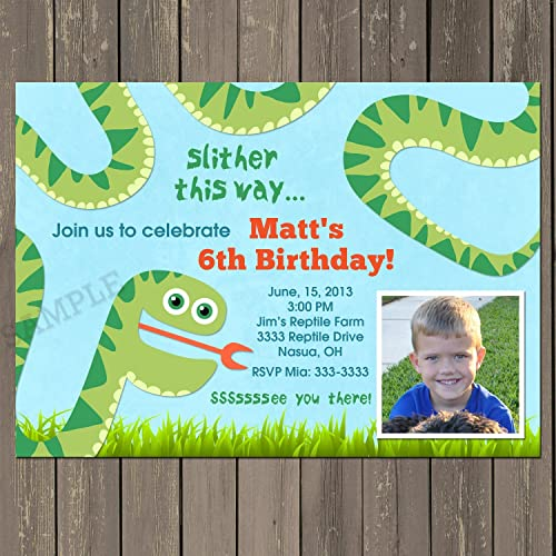 Amazon Com Snake Birthday Invitation Snake Birthday Party Invite