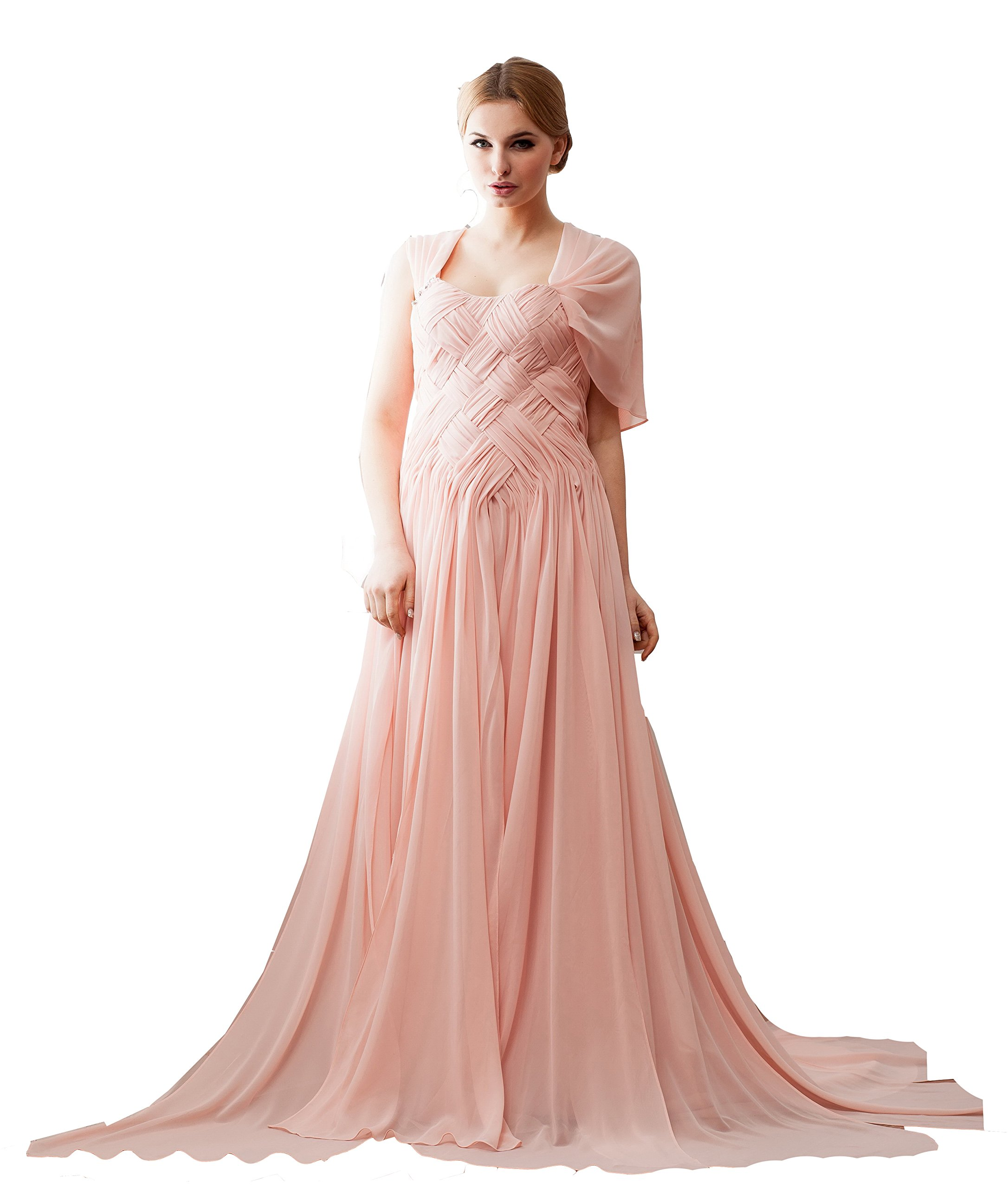 Vogue007 Womens Strapless Pongee Chiffon Wedding Dress with Drape, Pink, 22W