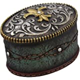 Fleur De Lis Jeweled Belt Buckle Trinket Box - Turquoise Tooled Leather Look, Rhinestones - Silver Gold