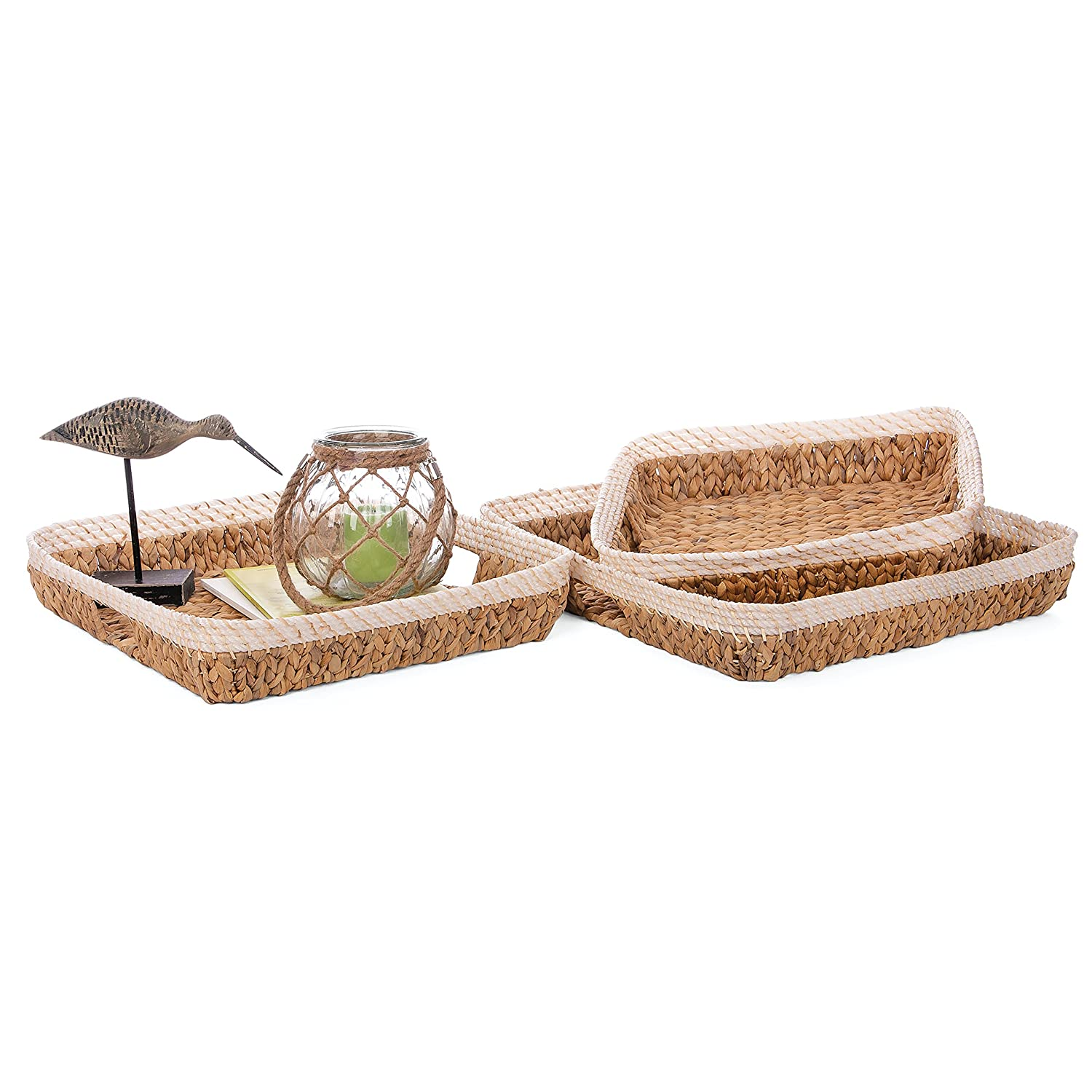 Skalny 5267.1.3 16 Dx3.75 20 Dx4 Square Hyacinth Trays 3pc Set Piece