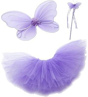 ce6b850d6a3 Purple Fairy Princess Tutu Wing Wand Set For Girls Dress up