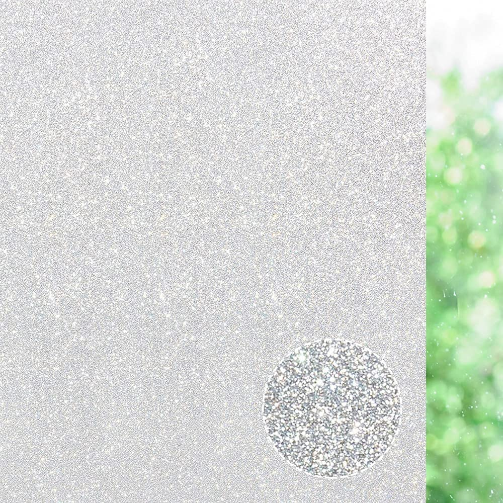 Privacy Window Film, Sun UV Blocking Frosted Glass Effect Vinyl Obscure Static Cling Window Treatment - Home Security & Decorative, Heat Resistant, UV Prevention - Easy Removal (Pure, 17.7 x 78.7 in)