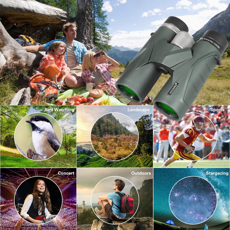 Voyages Jumelles 8x42 pour Adultes visites touristiques Vert Concerts Camping Jumelles compactes Professionnelles HD pour lobservation des Oiseaux Observation des /étoiles