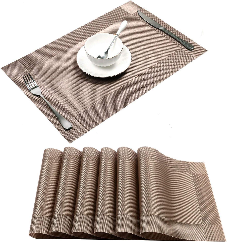 U'Artlines Placemat, Crossweave Woven Vinyl Non-Slip Insulation Placemat Washable Table Mats Set of 6 (6pcs placemats, Champagne)