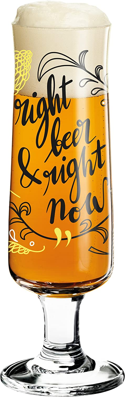 RITZENHOFF Beer Vaso de Cerveza, Cristal, Negro/Blanco/Amarillo, 5.5 cm